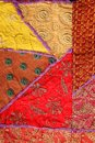 Ethnic fabric background of colorful patchwork fabrics Stock Photography