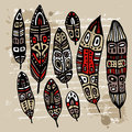 Ethnic Feather Set Royalty Free Stock Images