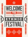 Ethnic festival poster. Typographical design with folk pattern ornament. Vector illustration. Royalty Free Stock Photo
