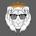 Ethnic hand drawing head of lion wearing a crown and in the glasses. totem / tattoo design. Use for print, posters, t-shirts. Vect