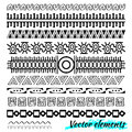 Ethnic hand drawn vector line border set and hipster scribble design element. Doodle style.