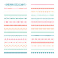 Ethnic hand drawn vector line border set and Royalty Free Stock Photo
