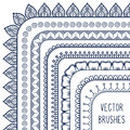 Ethnic hand drawn vector line border set and