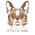Ethnic head of dog on the white background totem / tattoo design. Use for print, posters, t-shirts. Vector illustration Royalty Free Stock Photo