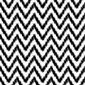 Ethnic ikat abstract geometric chevron pattern in black and white vector background Royalty Free Stock Images