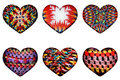 Ethnic knitted patterns of different forms in the form of hearts isolated from the background
