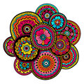 Ethnic mehndi ornament. Indian style. Beautiful doodle art floral composition. Doodle floral drawing. Zentangle ornament