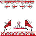 Ethnic ornament two deer and birds