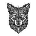 Ethnic ornamented fox or dog. Vector illustration
