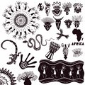 Ethnic ornaments of africa. A collection of ancient signs isolated on a white background. Vector set