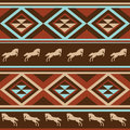 Ethnic patten background with horse. Royalty Free Stock Image