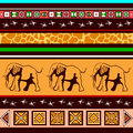 Ethnic pattern with elephants in the african style Stock Photo