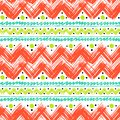 Ethnic pattern painted with zigzag brushstrokes vector seamless hand bold and stripes in bright colors can be used for print Royalty Free Stock Image
