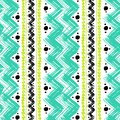 Ethnic pattern painted with zigzag brushstrokes vector seamless hand bold and stripes in bright colors can be used for print Stock Photography
