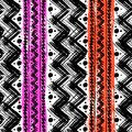Ethnic pattern painted with zigzag brushstrokes vector seamless hand bold and stripes in bright colors can be used for print Stock Image