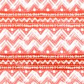 Ethnic pattern painted with zigzag brushstrokes vector seamless hand bold and stripes in bright red can be used for print Stock Photos