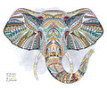 Ethnic patterned head of elephant