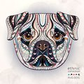 Ethnic patterned head of pug-dog
