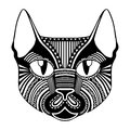 Ethnic patterned ornate decorative face cat silhouette.