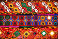 Ethnic rajasthan belt colorful belts with mirrors and shells at market in india Stock Photos
