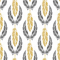 Ethnic seamless pattern with beauty feathers vintage tribal feather in black and gold colors doodle zentangle background Stock Photo