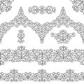 Ethnic seamless pattern borders,elements.Swirls,revival