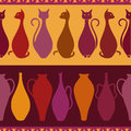 Ethnic seamless pattern with cats and vases colorful elegance Stock Photography