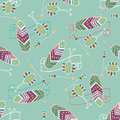 Ethnic seamless pattern with feather and arrow hand drawn background Royalty Free Stock Image