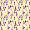 Ethnic seamless pattern with feathers. Texture design for wallpa