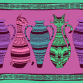Ethnic seamless pattern with ornated cats and vase colorful vases Stock Images