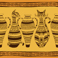 Ethnic seamless pattern with ornated cats and vases african Stock Image