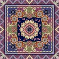 Ethnic silk scarf in indian style with paisley and flower mandala