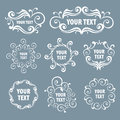 Ethnic silver stylized floral signs Stock Photos