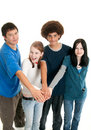 Ethnic teen teamwork Stock Photography