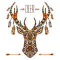Ethnic totem of a deer. A tattoo of a deer with an ornament. Use for print, posters, t-shirts, tattoo. Royalty Free Stock Photo