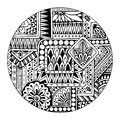 Ethnic tribal pattern in circle. Black and white mosaic mandala. Abstract vector background. Striped geometric tribal pattern.