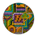 Ethnic tribal pattern in circle. Mosaic mandala. Abstract vector background.