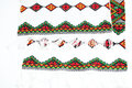 Ethnic ukrainian embroidery detail of the yarn from a traditional rushnyky ceremonial towel Royalty Free Stock Photography