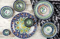 Ethnic Uzbek ceramic tableware. Royalty Free Stock Photo