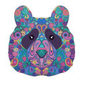 Ethnic Zentangle Ornate HandDrawn Panda Bear Head. Painted Doodle Animal