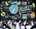 Ethnicity business people security protection conference seminar concept Stock Image