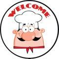 Etichetta del cerchio di man face cartoon del cuoco unico Fotografia Stock