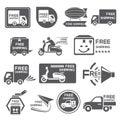 Etichetta di trasporto libera icone Fotografia Stock