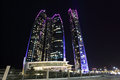 The etihad towers in abu dhabi illuminated at night united arab emirates Royalty Free Stock Photography