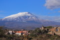 Etna mt and acient lavic house Stock Photo