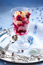 Eton mess with cranberry meringue and cream for holiday Royalty Free Stock Images