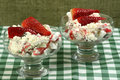 Eton mess dessert glass bowl with meringue whipped cream and fruit Royalty Free Stock Photos