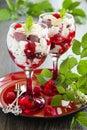 Eton mess dessert with raspberries Stock Photos