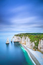 Etretat aval cliff and rocks landmark and ocean normandy france natural arch blue aerial view europe Royalty Free Stock Photography