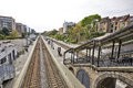 The etterbeek station in the brussels capital region belgium may is a belgian train territory of commune of ixelles near Royalty Free Stock Photos
